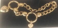 "Jewelry 8.5"" Goldtone Chain w Hearts Ankle Bracelet"