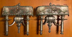 Vtg Pair Large Art Deco 2 Bulb Cast Wall Sconce Light Fixtures Parchment Shades