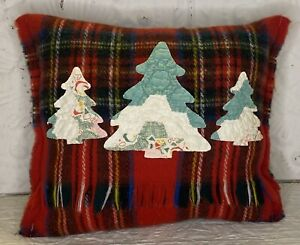 Handmade Quilt Trees Pillow  Vintage Scarf   Christmas Winter Cabin  Decor