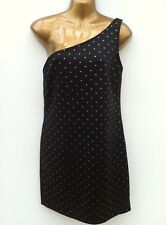 NWOT ATMOSPHERE Black & Shiny Gold One Shoulder Dress Size 14 Asymmetric Bodycon