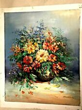 BEAUTIFUL VINTAGE STIL LIFE FLOWERS SINED