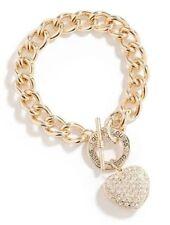 Guess Gold Chunky Chain Bracelet Rhinestone Heart Charm