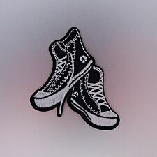 Sneakers Patch — Iron On Badge Embroidered Motif — Sneakerhead Black White Shoes