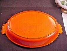 Vintage  LE CRUESET Au Gratin #32 Flame Orange Cast Iron Enamelware Cookware