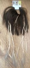 False Hair Ponytail Womens Girls Mid Brown with Blonde Braided Plaits Ponytail