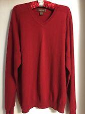 TASSO ELBA Gorgeous Men's V Neck Sweater 100% Cashmere Burgundy Color SZ L