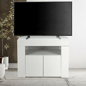 Modern Corner TV Unit Stand Media Cabinet 2 Doors Cabinet White High Gloss