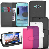 For Samsung Galaxy J1 ACE - Wallet Leather Book Case Flip Cover + Screen Guard