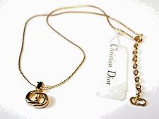 Signed Christian Dior Symbol Necklace Gold Plated Emerald Crystal CD Pendant New