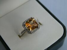 SUPERB DC EDINBURGH PRINCESS CUT CITRINE & DIAMOND 9CT WHITE GOLD RING SIZE M