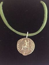 "Denarius Of Nero Pewter Coin WC21 Made From  Pewter On 18"" Green Cord Necklace"