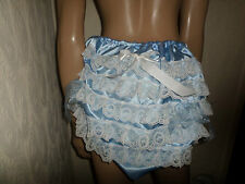 ADULT BABY SISSY BLUE SATIN LACE TRIM PANTIES WHITE  BOWS 30-45  WAIST