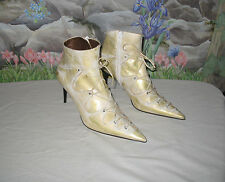New HUGO BOSS White & Gold Leather Bootie Boots sz 8 / EU39