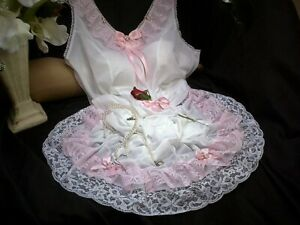 SISSY XXXL WHITE NYLON FULL PETTICOAT SLIP PLEATED TIERED LACE PINK SATIN BOWS
