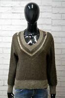 Maglione De Pietro Felpa Donna Taglia L Pullover Sweater Cardigan Maglia Marrone