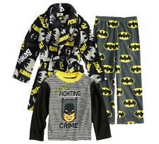Boys Justice League Batman Fleece Pajamas & Robe Bathrobe Set Size 8 10 NEW