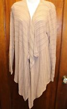 HYFVE Buckle Rose Taupe Pink Gray Stripe Cardigan Large L