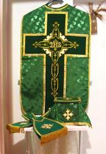 Green Chasuble Set Vestment Fiddleback Damask Fabric 5 Pieces NEW