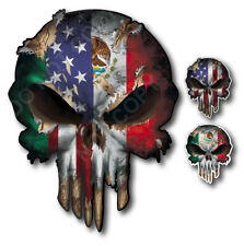 3xUSA American Mexican Flag Skull decal Window sticker car truck window Mexico
