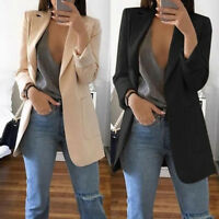 New Women's Casual Mid Trench Coat Lapel Slim Cardigan Outdoor Work Suit Jackets
