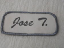 Jose T. Used Silk Screen Name Patch Tag Grey On White