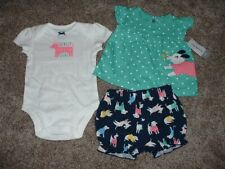 Carter's Baby Girl Puppy 3-Piece Set Outfit Summer Clothes Size 3M 3 Months NWT