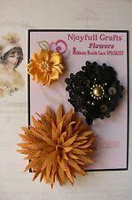 HANDMADE 3 Flower Mix - GOLD & BLACK Organza Lace 40, 65 & 80mm NjoyfullCrafts