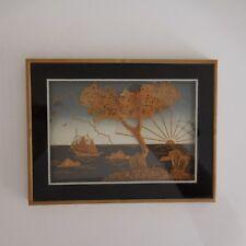 Tableau cadre paysage marin fait main vintage art déco design XX PN France N2831