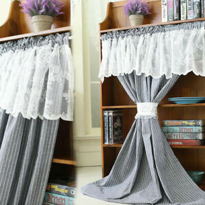 Short Half Curtain Living Room Window Lace Stripe Drape Kitchen Cabinet Door 1pc