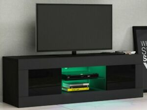 Modern Black TV Unit Cabinet Stand Sideboard High Gloss Doors RGB LED Lights