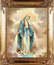 LARGE - VIRGIN MARY OUR LADY GOLD FRAMED PICTURE STATUES CANDLES CROSSES LISTED