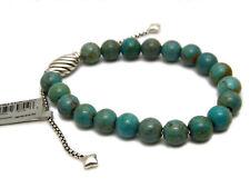 David Yurman 8mm Turquoise Spiritual Bead Bracelet w/ Silver Pull Clasp NWT