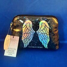 Victoria's Secret - Angel Wings - Black Glitter Cosmetic Bag - NEW