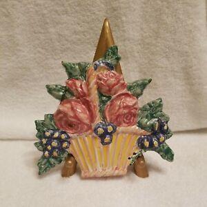 Mackenzie Childs FLOWER BASKET Tile 1995  RARE!!!  VHTF!!! (REPAIRED)