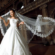 White Cathedral Length Lace Edge Bride Wedding Bridal Long Veil Lace Appliqu