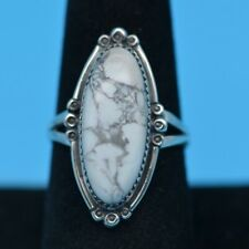 Vintage Sterling Silver&Turquoise Ring White Buffalo  Size 9.25 Nice Matrix Soft