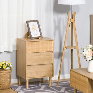3-Drawer Storage Cabinet Bedside Table w/ Wood Legs Unique Bedroom Chest