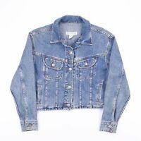 Vintage BANANA REPLUBLIC Cropped Faded Blue Denim Jacket Womens Size Medium