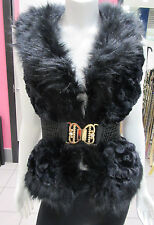 Black Faux Fur Vest Size Small Gold Rhinestone Belt Buckle Jacket  Luxurious NWT