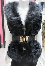 Black Faux Fur Vest Size Large Gold Rhinestone Belt Buckle Jacket  Luxurious NWT