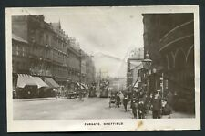 Fargate Sheffield real photo busy victorian street trams shops view old postcard