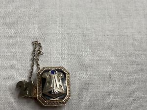 1927 14K White Gold Enamel HP Graduation Sweetheart Pin Tie & Chain Ingrave J.M.