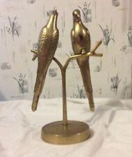 Large Vintage Solid Brass Love Birds Statue