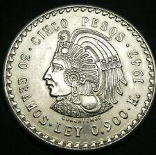 1948 MO Mexico Cuauhtemoc Cinco 5 Pesos Silver Coin Uncirculated