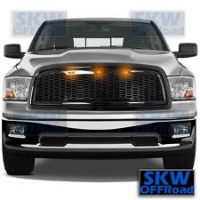 09-12 Dodge RAM 1500 Raptor Style Gloss Black Mesh Grille+Shell+3x Amber LED