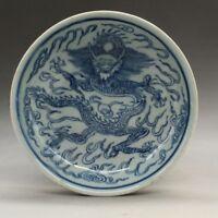 China antique Porcelain Qing guangxu Blue white hand painting dragon plate