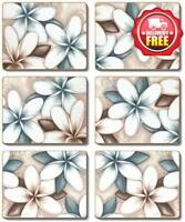 Cinnamon Ocean Frangipani Cork Backed Coasters | Set of 6pcs