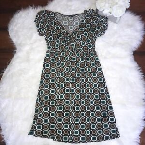 Max Edition Women's Size XS Teal & Tan Dress Short Sleeve