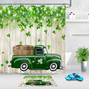 """St. Patrick's Day Clovers and Green Truck Shower Curtain Set Bathroom Decor 72"""""""