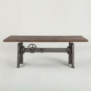 """83"""" L Dining Table industrial crank solid iron weathered wood old teak top"""